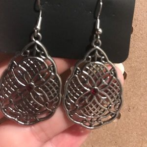 Filigree net earrings with tiny ruby center stones